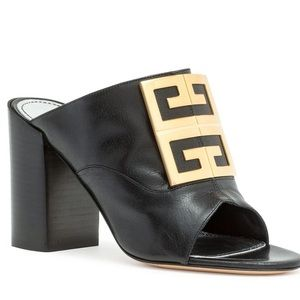 GIVENCHY Black leather 90 4G Mules